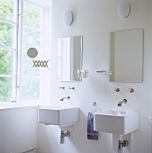 Bathroom with two sinks and wall fittings in retrostyle