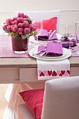 Festive table for two with tulips