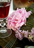 A wine glass and a peony