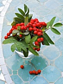 Rowan berries and twigs in vase on table
