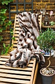 Garden lounger with fur blanket, olive tree and gardening utensils