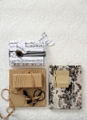 Packed gifts in front of a white wall paper