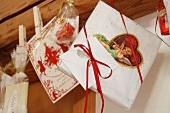 Christmas presents pegged on ribbon