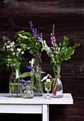 Flowering garden herbs in glasses and bottles against dark wooden wall