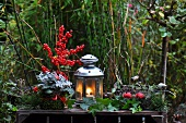 Advent garden decoration with lantern