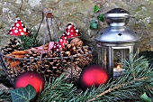 Advent arrangement with lantern in garden