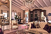 Antique furniture in grand interior of country house