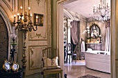 View into luxurious bathroom in grand Baroque villa