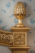 Detail of bedpost in hotel room