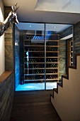 An ante room with a metal animal head on the wall and a view through closed glass doors onto a wine shelf