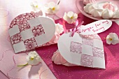 Heart-shaped cards filled with meringue dots for a loved one
