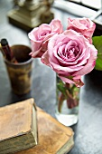 Posy of pink roses in glass vase