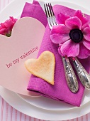 A festive Valentine's day place setting