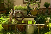 Summery garden with potted plants
