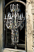 Chandelier decorated with crystal beads and colourful glass beads