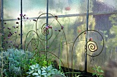 Iron artworks in front of greenhouse