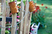 Garden fence with rusty tin cans