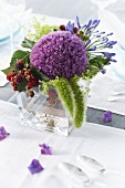 Summer bouquet with allium and blackberries