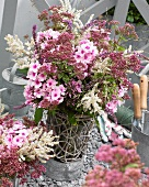 Summer bouquet with pink phlox