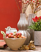 Autumn table decorations with ornamental apples and rose hips