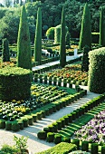 English country manor gardens with flower beds and topiary cypress trees