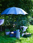 Vintage washing utensils beneath open parasol in garden