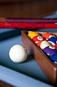Pool balls and cue on pool table
