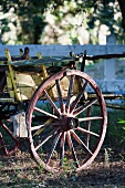 Antique horse-drawn cart with wooden wheels