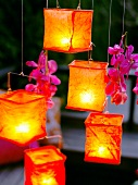 Lanterns on terrace at dusk