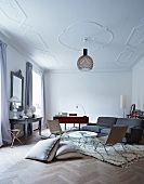 Modern furnishings in grand interior