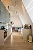 Modern kitchen in open-plan attic room