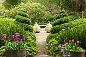 Flowers and topiary bushes in well-tended gardens