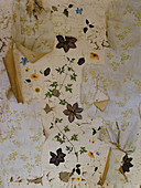 Vintage wall with peeling paint and remains of various layers of floral wallpaper