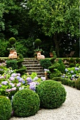 Summer garden on two levels with flowering hydrangeas