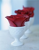 Red rose petals in white egg cups as table decoration