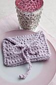 Crocheted menu card