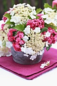 Bouquet of red hawthorn & lacecap hydrangea