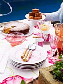 Summery coffee break with floral tablecloth