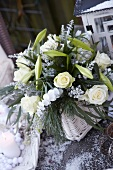 Christmas bouquet of roses and lilies