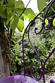 Purple metal garden chair