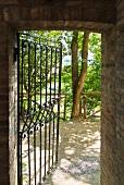 Brick walls and wrought iron gate