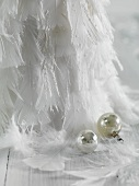 Christmas decorations made of feathers