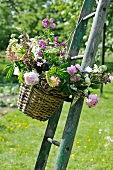 Colourful bouquet of garden flowers in basket hanging on ladder