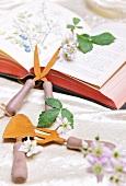 Pflanzenbuch mit Gartengeräten und Blumenblüten dekoriert