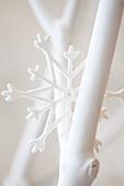 Weiss gestrichene Zweige und Dekostern