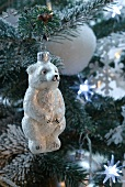 Glass polar bear as Christmas tree decoration