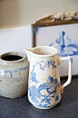 Old jug with blue motif