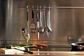 Kitchen utensils hanging on stainless steel splashback and vegetables on worksurface