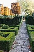 Topiary hedges, bushes and trees in park-like garden