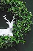 Wreath with deer figurine